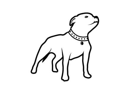 kampfhund: Zeichnung von einem Hund der Rasse Bek�mpfung