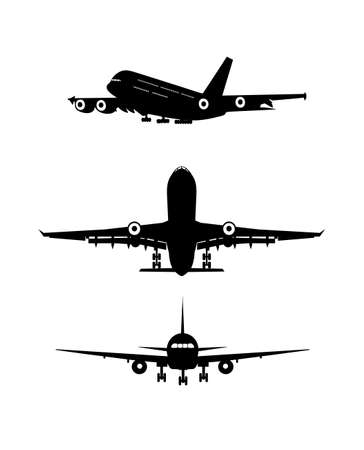 jetliner: on the image the silhouette of the flying-up plane is presented Illustration