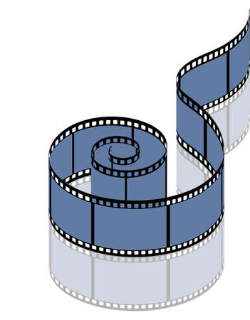 35mm film motion picture camera: on the image photographic film on a white background