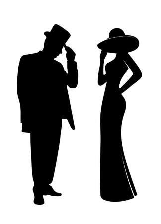 chapeau blanc: personnes silhouettes glamour