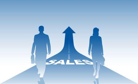 salesmen: business a background, businessmen on a way to success Illustration