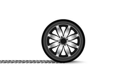 tyre tread: automobile wheel leaving a trace Illustration
