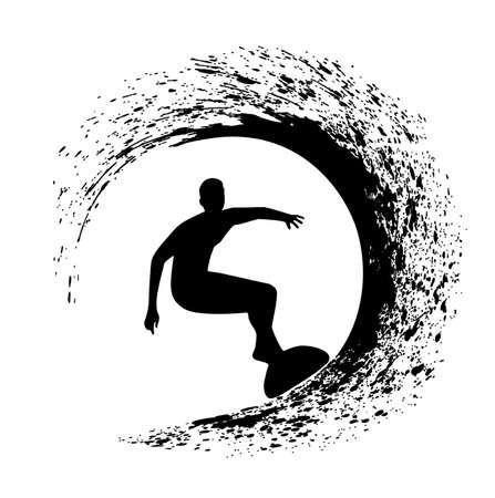 Silhouette der Surfer auf einer Meereswelle im Stil Grunge Illustration