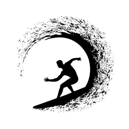 silhouette of the surfer on an ocean wave in style grunge