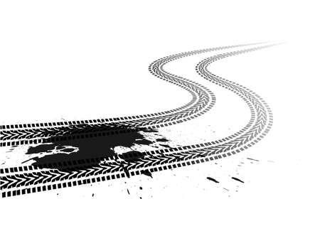 bike trail: car tread silhouette on a white background Illustration