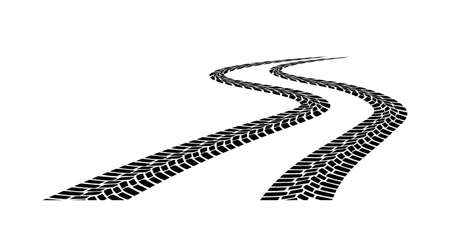 driveway: car tread silhouette on a white background Illustration