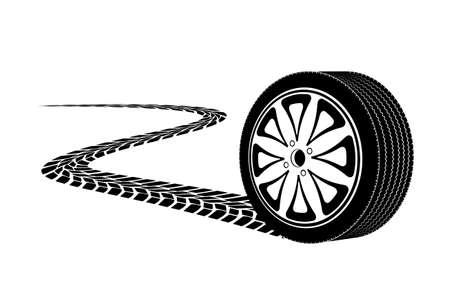automobile wheel leaving a trace Stock Illustratie