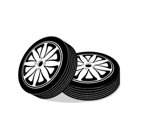 radial tire: automobile wheels on a white background Illustration