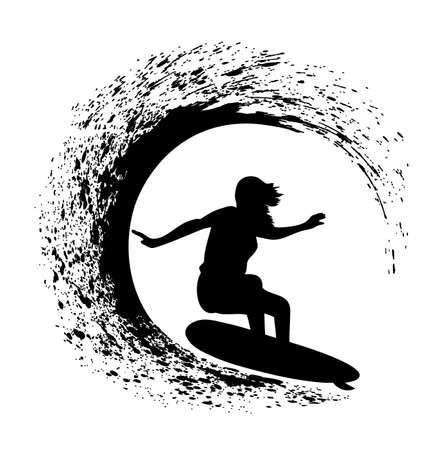 silhouet van de surfer op een oceaan golf in stijl grunge