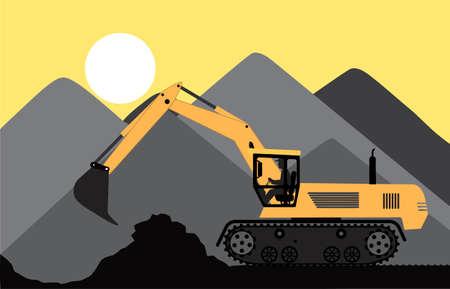 sandpit: excavadora trabaja en una cantera Vectores