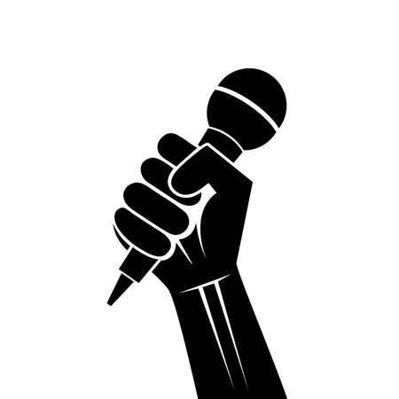 die een microfoon in een hand Stock Illustratie