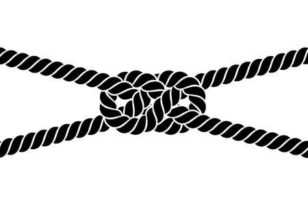 nudo: nudo de la cuerda sobre un fondo blanco