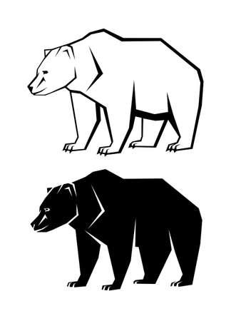 bruine beer op een witte achtergrond Stock Illustratie