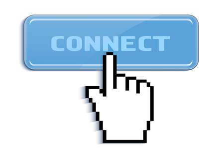 cursor presses the button to connect Vector