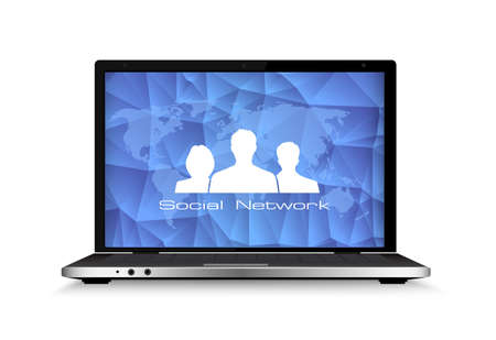 writing on screen: Concept of communication in the network.