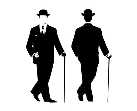top black hat: silhouette of the gentleman in a fashionable suit