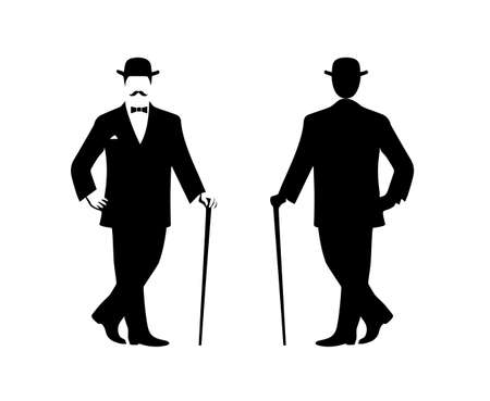 silhouette of the gentleman in a fashionable suit Vector