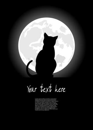 black cat sitting opposite to the moon in night of the Halloween Illustration