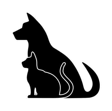 veterinarian symbol: silhouette of pets Illustration