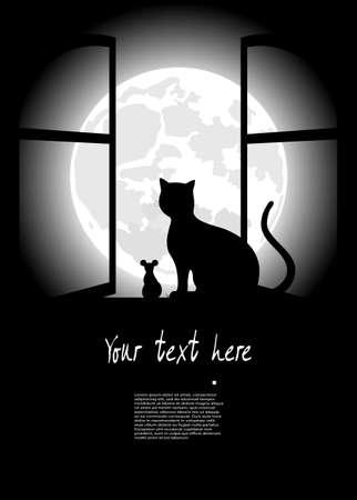 zwarte kat, zittend tegenover de maan in de nacht van Halloween Stock Illustratie