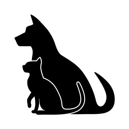 silhouette of pets Stock Illustratie