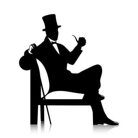 gentleman  silhouette Vectores