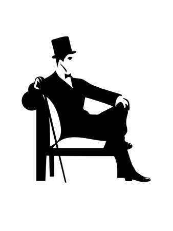man with hat: gentleman  silhouette Illustration