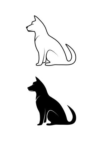 silhouette of pets Ilustrace