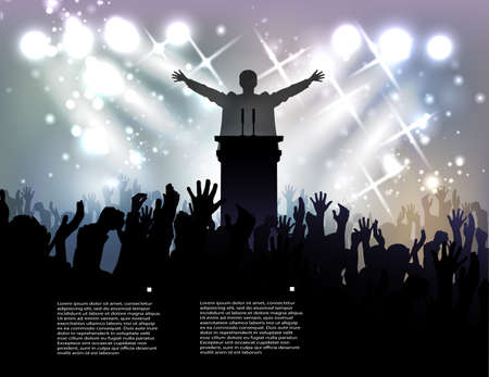 politician: politician before audience at the background with spotlights Illustration