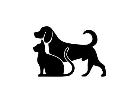 cat and dog symbol of veterinary medicine Illustration