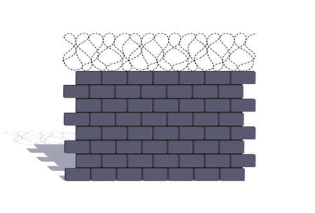 element of a stone fencing with a barbed wire Vector