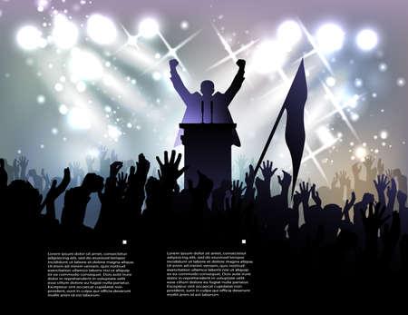 hablar en publico: político antes de la audiencia en el fondo con focos Vectores