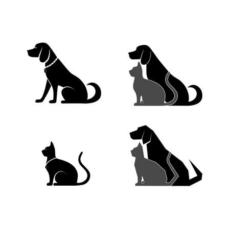 cat and dog symbol of veterinary medicine Çizim