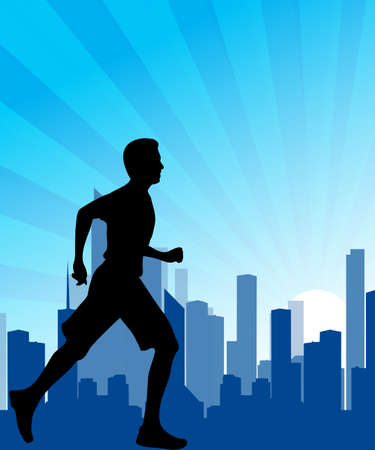 racecourse: running man against the city. silhouette of the sprinter