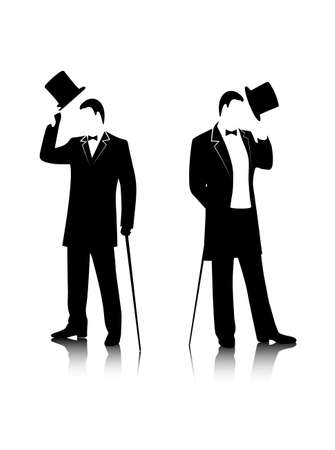 dandy: silhouette of the gentleman in a fashionable suit