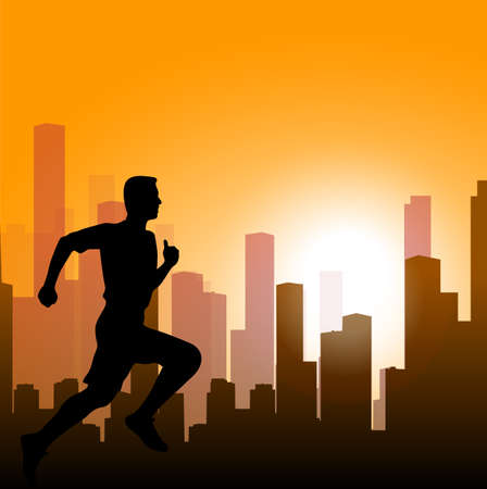 strong man: running man against the city. silhouette of the sprinter