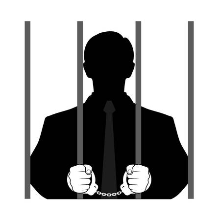 iron defense: silhouette of a man behind bars Illustration