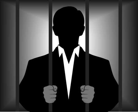 swindler: silhouette of a man behind bars Illustration