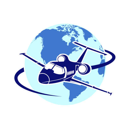 air cargo: plane on the background of the planet symbol of air transportation Illustration