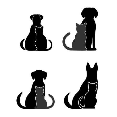 silhouette chat: Silhouettes d'animaux de compagnie, chien de chat Illustration