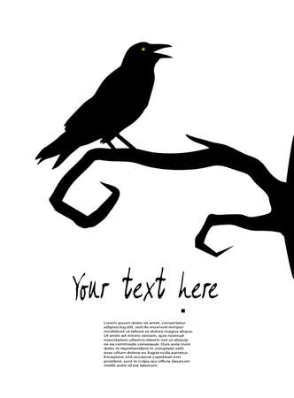 Gothic style: raven sits on a tree Illustration