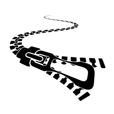 silhouette metal zipper in perspective on white background Vector