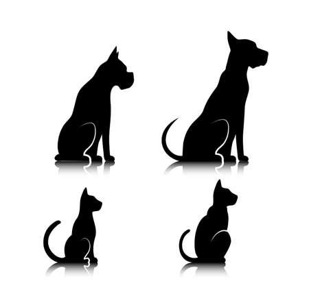 schattenbilder tiere: Silhouetten von Haustieren, Katze, Hund, Illustration