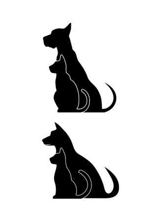 silueta de gato: Siluetas de animales domésticos, perro gato Vectores