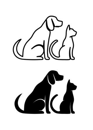 Silhouetten van huisdieren, kat en hond Stock Illustratie