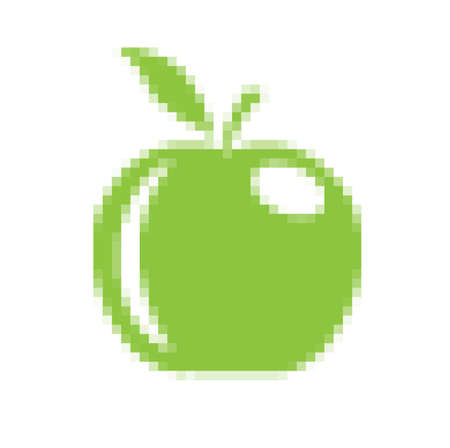tessellated: green apple from a pixel grid