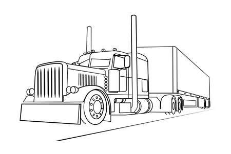 負荷を運ぶトラックの描画  イラスト・ベクター素材