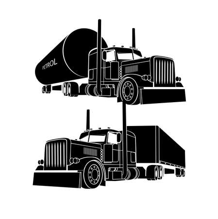 drawing of the truck transporting a load Vector
