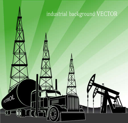oilwell: industrial background Illustration