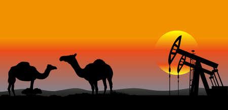 pozo petrolero: fondo industrial de producción de petróleo de Oriente Medio Vectores